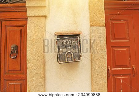 Street Mailbox Gray Color Hanging On The Wall. Posta.