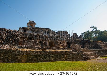 Palenque, Chiapas, Mexico: The Palace, One Of The Mayan Buiding Ruins In Palenque. The Palace Is Cro