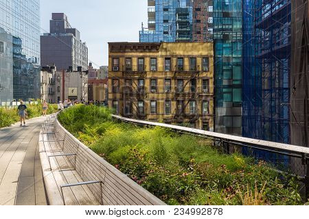 New York, Nyc, Usa- August 30, 2017: The High Line, Known As High Line Park, Elevated Linear Park, G