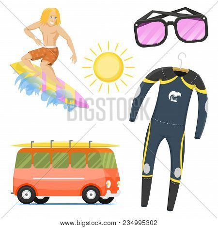 Surfing Active Water Sport Surfer Summer Time Beach Activities Man Windsurfing Jet Water Wakeboardin