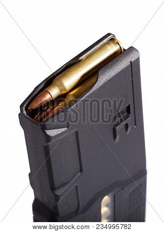 Polymer Assault Rifle Magazine Close-up. High Resolution Photo.