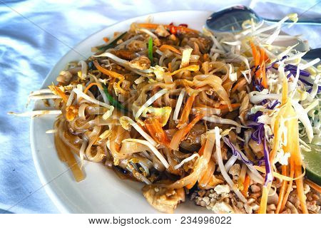 Thai Dish With Fried Noodles, Seafood And Vegetables-pad Thai