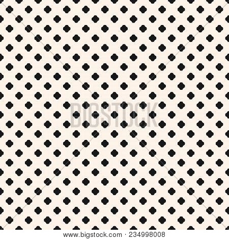 Minimalist Vector Seamless Pattern. Simple Abstract Geometric Background With Small Rounded Crosses,