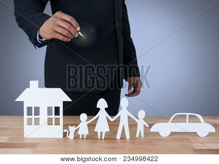 Cut outs of home family and car with model