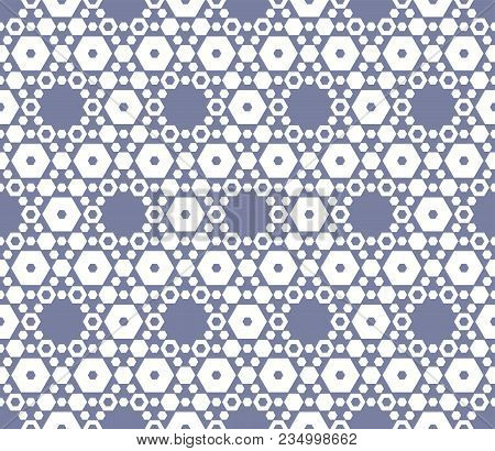 Vector Hexagon Texture, Vintage Seamless Pattern In Soft Pastel Colors, Blue Serenity And White. Del