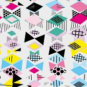 Geometric Memphis Postmodern Retro style 80-90s. asymmetrical shapes Rhombus triangle Seamless pattern. Yellow green blue pink black background Can be used for fabrics wallpapers websites. Vector illustration poster