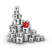 pile of big and small dices with question marks poster