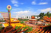 Aerial view on Buddhist temple Kek Lok Si  (The Temple of Supreme Bliss) and Georgetown, Penang island, Malaysia poster