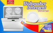 Vector 3d realistic advertising poster with dishwashing detergent, dishwasher machine with clean plates. Chemical agent in tablets. Promotion template, mock up of packaging. Cleaning concept poster