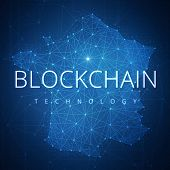 Blockchain technology wording on futuristic hud background with polygon France map and blockchain peer to peer network. Network, e-business and cryptocurrency blockchain business banner concept. poster