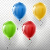 Vector set of realistic flying helium balloons, multicolored, red, yellow, green and blue, isolated on transparent background. Clipart with decorative objects for holidays, birthday, parties, events poster