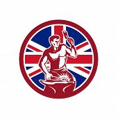 Icon retro style illustration of a British blacksmith or farrier holding hammer and anvil with United Kingdom UK, Great Britain Union Jack flag set inside circle on isolated background. poster