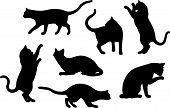 A set of Cat Silhouette Illustrations or designs (vector) poster