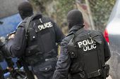 Special law enforcement unit. Special police force units in uniforms, bulletproof vests, firearms and guns. Masked police officers. Special Assault Team during mission. From their backs. poster