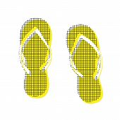 Flip flop sign. Vector. Yellow icon with square pattern duplicate at white background. Isolated. poster