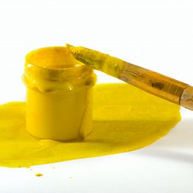 Isolated Image Of Paint And Brush Closeup
