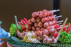 Chili Isaan Sausage With Vegetable, Thai Style Sausages And Fresh Vegetables.