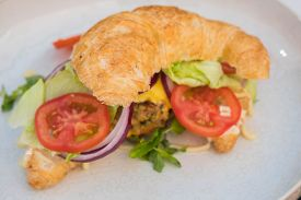 Ham Cheese Croissant With Bacon And Salad.