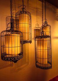 Japanese Square Lamp Light In The Restaurant