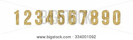 Set Of Golden Numbers. Numbers From 0 To 9 With Shimmering Glitter Isolated On White Background. Gol