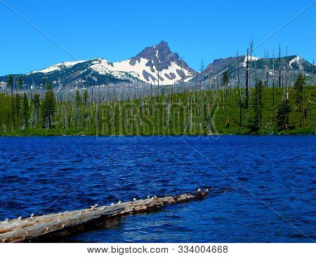 Pointed Peak - A view of Three-Fingered Jack at Round Lake - Cascade Range - west of Camp Sherman, OR