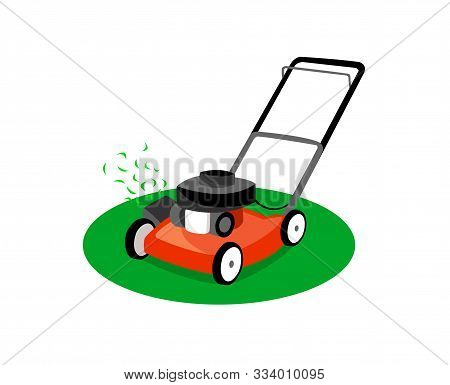 Lawn Mower Isolated On White Background. Lawn Mower