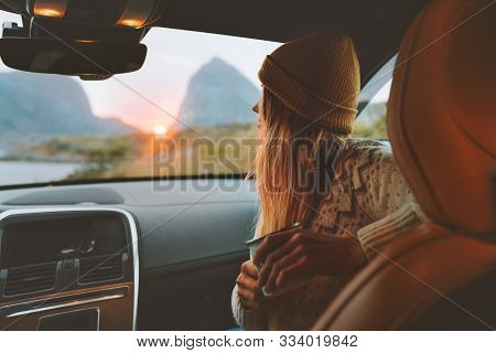 Woman On Road Trip Traveling By Rental Car Relaxing With Coffee Cup Adventure Lifestyle Vacations Vi