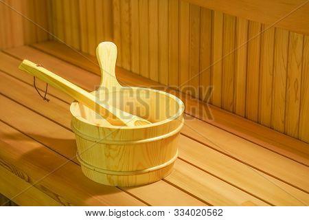 Sauna Interior Room. Interior Details Finnish Sauna Steam Room With Traditional Sauna Accessories Ba