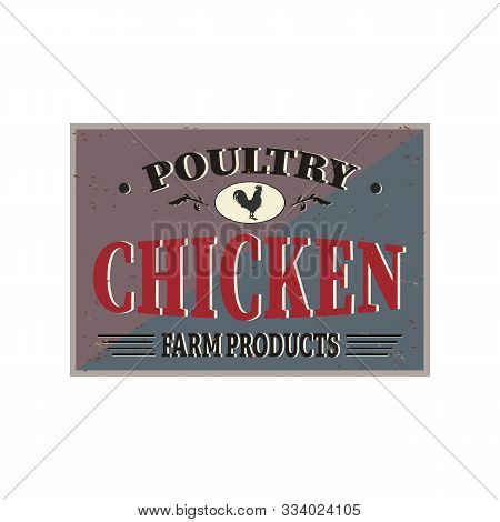 Fried Chicken Retro Sign Design Concept On Black Background. Vintage Style Restaurant Signboard With