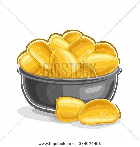 Vector Illustration Of Potato Chips, Still Life Composition Of Heap Fatty Fried Potatoes In Grey Bow