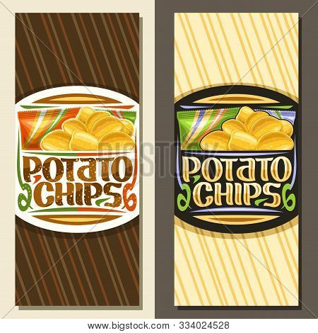 Vector Layouts For Potato Chips With Copy Space, Decorative Coupon With Illustration Of Heap Crispy