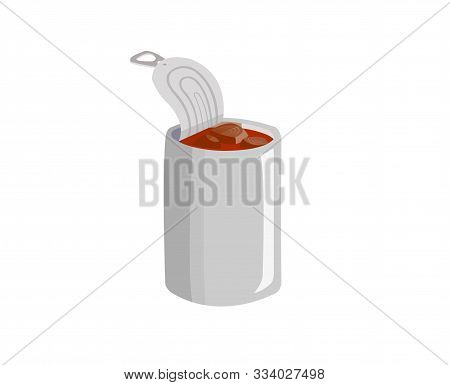 Canned Fish Isolated On White Background. Mackerel In Tomato Sauce Isolated On White.