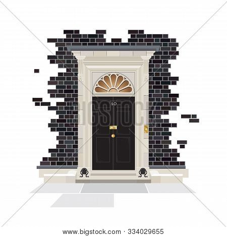 The Exterior Of Number 10 Downing Street. The Official Public Residence Of The Uk Prime Minister Sin