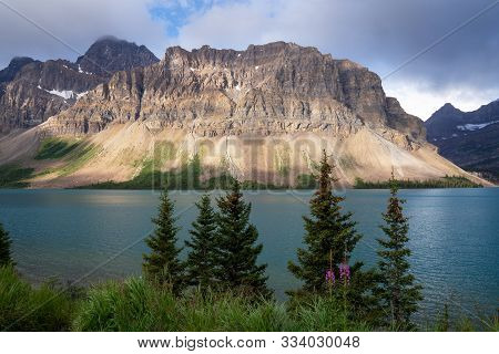 Beautiful Bow Lake On A Cloudy Day, Icefield Parkway, Banff National Park, Alberta, Canada