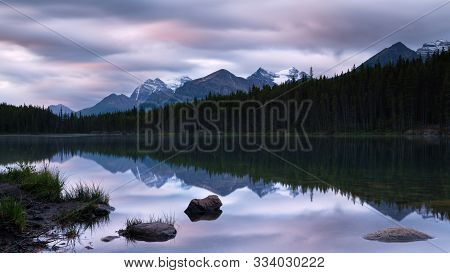 Daybreak At The Beautiful Herbert Lake On A Cloudy Day, Icefield Parkway, Banff National Park, Alber