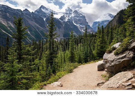 Hiking Trail Within The Rocky Mountains Close To Lake Louise, Banff National Park, Alberta, Canada