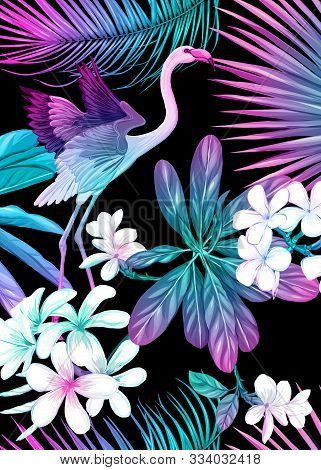 Background, Wallpaper, Cover With Tropical Plants, Flowers And Birds In Neon, Fluorescent Colors. Ve