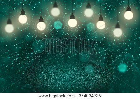 Light Blue Beautiful Shining Abstract Background Light Bulbs With Sparks Fly Defocused Bokeh - Festa