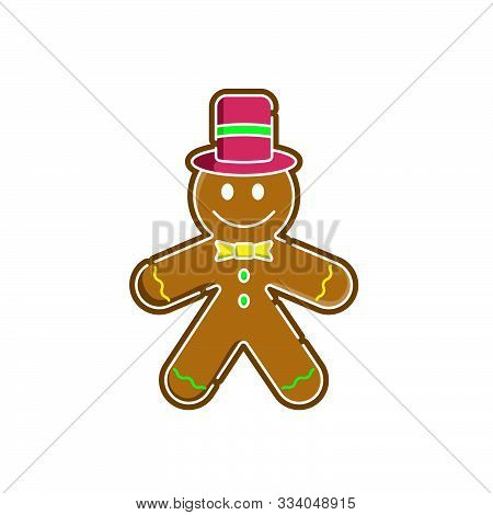 Christmas Gingerbread Vector Illustration Isolated On White Background. Cute, Funny Gingerbread In T