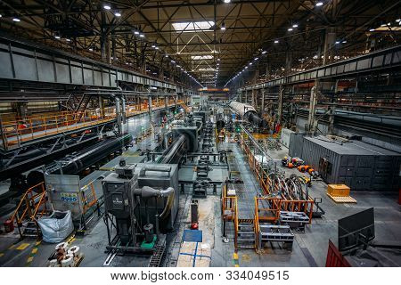 Moscow Region, Russia - June 21 2019: Polymer Layer Anti Corrosion Pipe Coating Machinery
