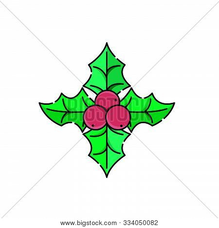 Christmas Holly Berry Icon Vector Illustration Isolated On White Background. Christmas Holly Berry I