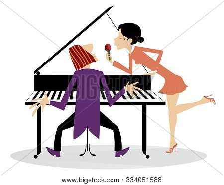 Singer Woman And A Pianist In The Concert Illustration. Pianist And Singer Woman Holds Microphone An
