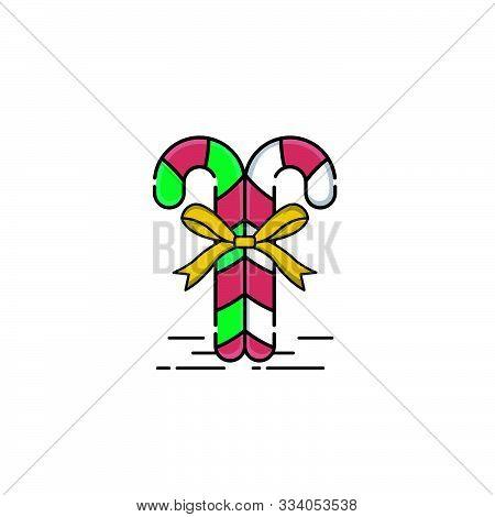 Christmas Candy Cane, Christmas Candy, Christmas Stick, Vector Illustration Isolated On White Backgr