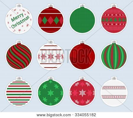 Magic, Colorful Christmas Balls Stickers Isolated On Gray Background. High Quality Vector Set Of Chr