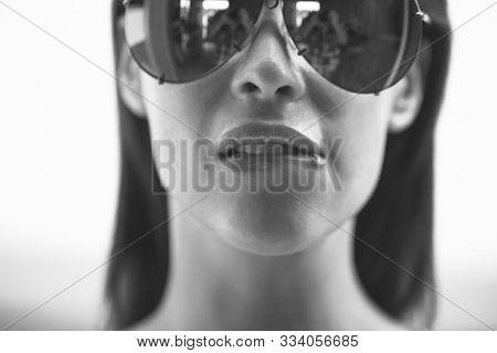 Sexy Lustful Woman Biting Lips Closeup, Black And White
