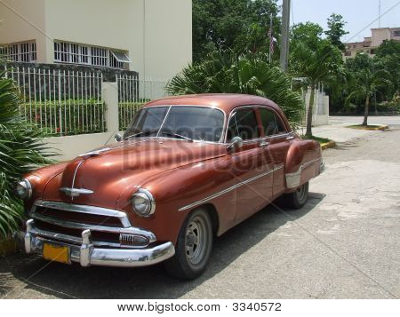 Angle View Of An Old American Car