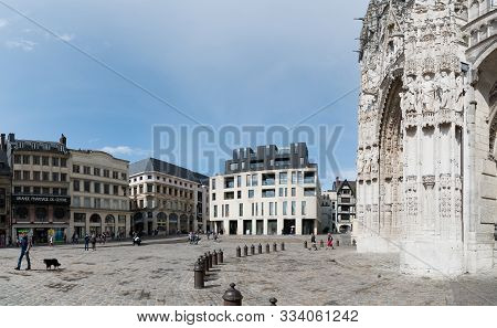 The Place De La Cathedral Square In The City Center Of Rouen