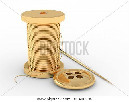 In the picture there are three gold object. Spool of thread, needle and button. poster
