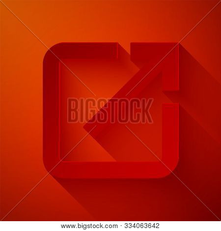 Paper Cut Open In New Window Icon Isolated On Red Background. Open Another Tab Button Sign. Browser
