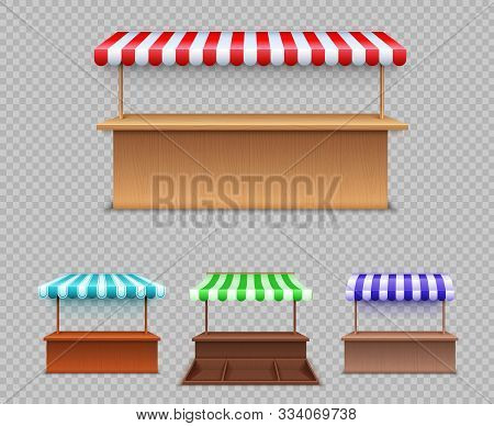 Market Stall Set. Realistic Wooden Counter With Canopy For Street Trading. Cafe Tent, Shop Roof. Out